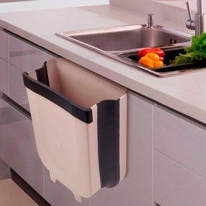 Складной Waste Bin кухонный шкаф двери платяной Мусорное ведро Trash Can Настенная Урна для ванной туалета хранения отходов 2020