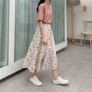 Long Skirt Womens Skirts Clothing 2020 Spring Summer White floral High Waist Elastic Harajuku Vintage Streetwear Loose Chiffon Y200704