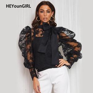 HEYounGIRL Patchwork Lace Puff luva Cortar Camiseta elegante T branco das senhoras preto Vintage Shirt Bodycon mulheres Camisetas Tops Outono