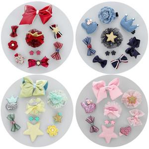 10 pçs / set Bebê Cocar Set Bow Coroa Cabelo Clipe Princesa Encantador Barrettes Meninas Crianças Acessórios Para o Cabelo HHA633