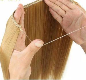 24 Pouces Femmes Ligne De Cheveux Extensions Noir Blond Naturel Ondulé Long Haute Tempreture Fibre Synthétique Fibre