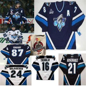Costumbre Rimouski Oceanic los jerseys del hockey para mujer Sidney Crosby jerseys Alexis Lafreniere Brunet Balasescu Erick Tremblay Arsenault cosido