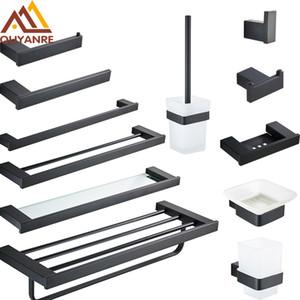Matt Black Badezimmer Hardware Sets Toilettenpapierhalter Handtuchhalter Regal Bürstenhalter Haken Seifenspender Bad-Hardware-Sätze