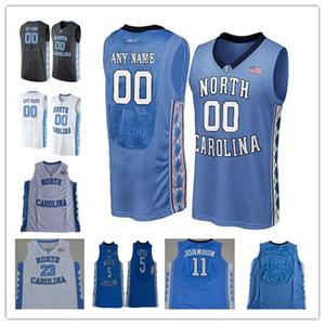 Пользовательские North Carolina Tar Heels College Basketball Любой Название Количество Синий Черный Белый 2 Cole Энтони Картер Майкл UNC Мужские трикотажные изделия S-3XL