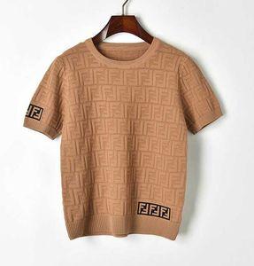 Новая весна и лето 2019 двойного F письмо круглого воротник Пуловер полого короткий рукав вязаной футболка мода блузка