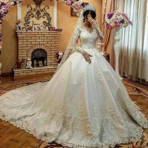 Ball Gown Wedding Dresses with Long Sleeve 2019 Sheer Jewel Neck full Lace Applique Muslim Arabic Kaftan Princess Church Train Wedding Gown