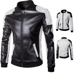 Мужская мода Zipper Fly Outwear Мотоцикл куртки Mens конструктора кожаные куртки Плюс Размер Stand Collar панелями