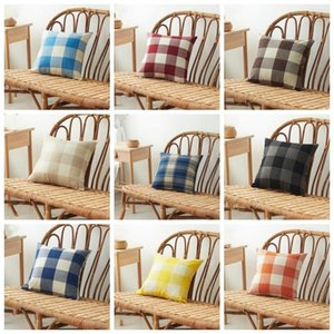 Fashion Striped Pillow Case Hold Pillow Plaid Case Candy Color Cotton Pillowcases Fashion Sitting Room Sofa Decoration DHC256