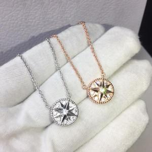 Rose Gold 925 Prata Oito-Pontilhado Estrela Fritillary Bússola Colar Pingente Para Mulheres Designer Moda Jóias Para Mulher