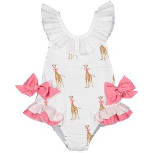 Varejo 2019 Verão New Girl Swimwear com chapéu Crianças Cartoon Giraffe Bow Kids Cute Swimsuit Roupas 2-7Y E6018
