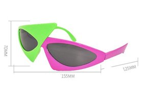 DHL Novelty Green Purple Contrast Color Glasses fashion Style Hip-Hop Asymmetric Triangular Sunglasses Party Supplies Decoration nx