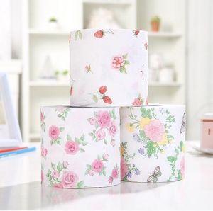 3 Couleurs 3 rouleaux / lot fleur d'impression papier doux rouleau Napkins toilettes tissus papier hygiénique en gros