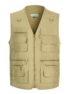 Summer Sleeveless Mens Vests 16 Pockets Photograph Waistcoat Fishing Casual V Neck Homme Outerwear Plus Size