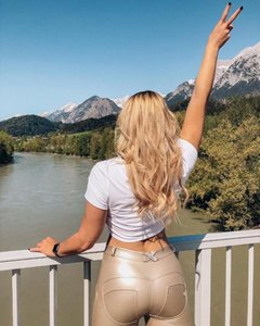 멜로디 쉐이프웨어 바지 골드 가죽 여성 레깅스 스키니 원활한 쉐이핑 엉덩이 전체 길이 중간 허리 패션 스포츠