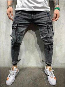 Mens Spring Taschen 2021 Jeans Bleistift Pants Ripping Black Jean Biker Big Designer Hose Svohj