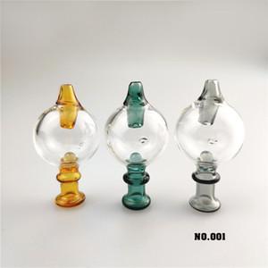Tubi di vetro Bubble Carb Protezione Con perla di vetro colorato Vetro 30mmOD Carb Cap Per bordo smussato quarzo Banger Nails Dab Water Rigs