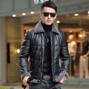 Motociclista Inverno Homens Casaco de couro pato jaquetas 100% Cordeiro casaco de pele Collar Faux carneiro Coats Chaqueta Cuero Hombre ZL1089