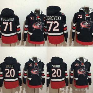Columbus Blue Jackets Толстовки Джерси 20 Брэндон Саад 71 Фолиньо 72 Бобровский 100% сшил фуфайки трикотажные изделия хоккея