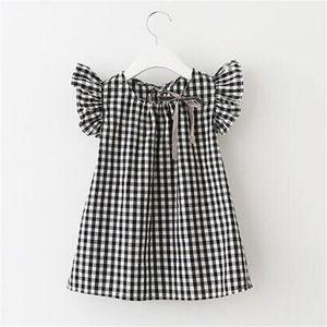 Yaz kız elbise ekose kollu prenses etek kısa kollu pamuklu gömlek Kore versiyonu