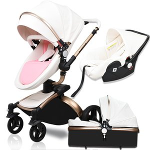 HK free ! Babyfond high quality leather baby car baby stroller 3 in 1 carriage 2 in 1 stroller Aluminum alloy frame
