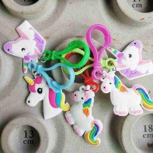 5pcs Pack Rainbow Unicorn Keychains Set for Girl & Boy - Key Ring Clip for Backpack Decor, Goody Bag