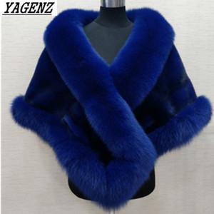 2019 Faux fur xale de Nova Outono Inverno Mulheres E Jacket Outerwear elegante Quente Senhora da forma Faux Cloaks colarinho casaco de pele