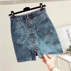 La manera del verano de las mujeres de cintura alta cremallera frontal Denim falda ocasional de la cremallera una línea de mini faldas del bolsillo de los pantalones vaqueros falda wrapover