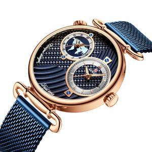 Luxo alta qualidade Multi Time Zone Mens Watch Ultrafino Waterproof Negócios Aço Mesh Belt Assista Mens relógio de quartzo