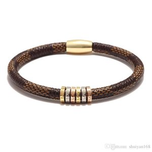 PU Leather Bracelets Love Bangles 20.5cm for Men Women Stainless Steel Magnetic Buckle Bracelet Jewelry Christmas Gift