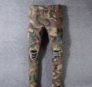 Diseñador del Mens Jeans Moda camuflaje Marca agujero largas Pantalones rotos pantalones apenada delgado del lápiz pantalones de la motocicleta