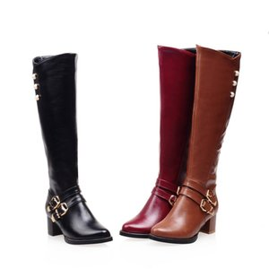 2020NEW Winter Women Shoes Long Knee-High Boots Round Toe Big Size Med Square Heels Zipper Buckle Short Plush Warm Inside Fashion