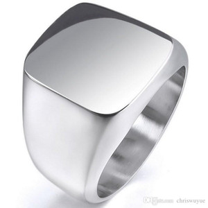 New Vintage Mens Boys Sterling Silver Color Stainless Steel 316L Polished Biker Signet Solid ring Men's Jewelry