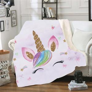 Nouveau modèle Licorne douce Couch Throw Blanket Fauteuil-lit de repos Nap Blanket Cartoon peluche Couvre-lit Couverture
