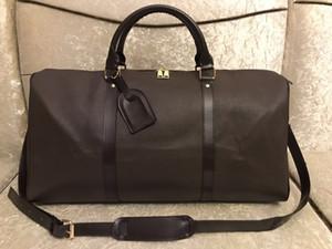 2019 NUEVO top PU moda hombres mujeres Brown bolsa de viaje bolsa de lona diseñador de la marca bolsos de equipaje gran capacidad bolsa de deporte 65 CM # 3518
