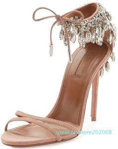 Hot Sale-Summer Eden crystal embellished sandals mujer sexy ladies high heels bride party wedding EU35-42 s08