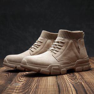 2019 осень Ранняя зима Boots Мужчины зимняя обувь Толстая подошва Мода Мужчины Ботильоны Комфортная Марка Обувь мужская KA1793