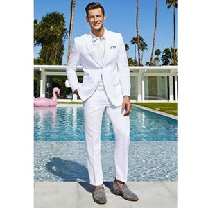 Custom Made White Men Suit Tuxedo Slim Fit Groom Wear Trajes de boda para hombre Prom Blazer Terno masculino (Chaqueta + Pantalones)