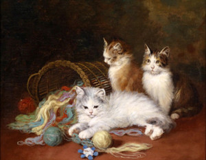 Hand painted oil painting lovely animals cats kittens Line Mission basket &HD Print Oil Painting On Canvas Wall Art Canvas Pictures y042