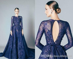 Navy Blue Elie Saab A Line Evening Dresses Lace Applique Beads Jewel Neck Long Sleeves Floor Length Formal Dress Evening Gowns Vestidos
