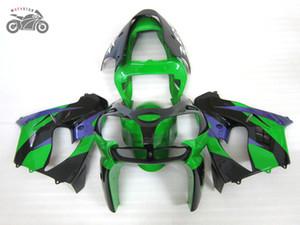 Free кастом обтекатель комплект для Kawasaki Ninja ZX9R 2002 2003 зеленый черных китайских дорожной гонки обтекателей установить ZX 9R 02 03 ZX9R