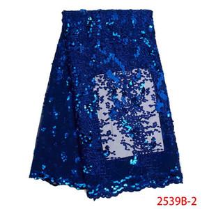 Venda quente do laço de tecido africano de alta qualidade de tule francês bordados rendas com lantejoulas nigerianos tecidos laços líquidas KS2539B-2