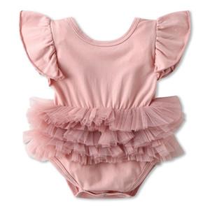 Baby Girl macacão de vôo da criança da luva meninas Macacões Backless infantil Romper mangas bebê roupa de escalada Boutique Roupa WZW-YW3812