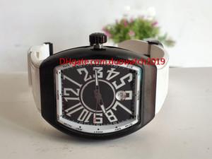 Verkauf neuer Vanguard PVD schwarzer Stahlfall V45 SC DT GLACIER Wechselstrom BR.GL automatisches schwarzes Vorwahlknopf-Mens-Uhr-Leder-Kautschuk-Bügel-Uhren
