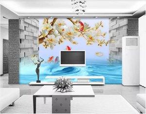 3d комната обои на заказ фото магнолия цветок 3D карп прыжки драконьи ворота средиземноморский фон обустройство дома картины на холсте