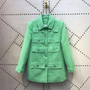 París diseño de lujo Coats 2020 Colección Primavera Verano 100% de lana verde Tweed seda Forro de alta calidad de la chaqueta abrigos manera de las tapas
