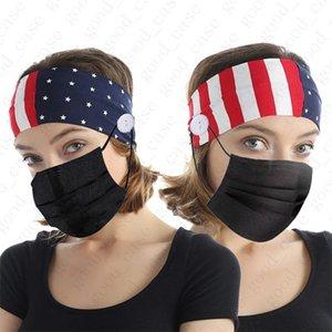 Adultes USA Drapeau Bandeau avec bouton pour le visage Masque de protection du couvercle Oreille élastique Masque Support Sport Yoga Stretchy Hairband tête Wraps D52703