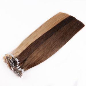 1g / iplikçik 100strands Çift Kütikül Bağlantısızlar Virgin Remy Nano Halka Nano Tip Saç Uzantıları Çizilen