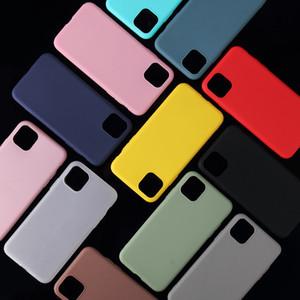 iPhone Matte Capa Para 7 6s 5s 8 Plus XR XS 11 Pro Max cor sólida ultra-fino suave TPU Bombom Cobrir a cores