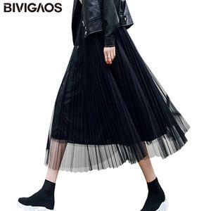 BIVIGAOS 2019 Summer Women Tulle Skirt Pleated Skirt Black High Waist Midi Skirts Thin Chiffon Mesh Yarn loose Long Skirts Women Y200704