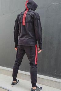 Fatos de treino para moda, Jogging Casual e encapuzado 2pc Conjuntos Hip Hop Mens Traksuits Street Style Mens